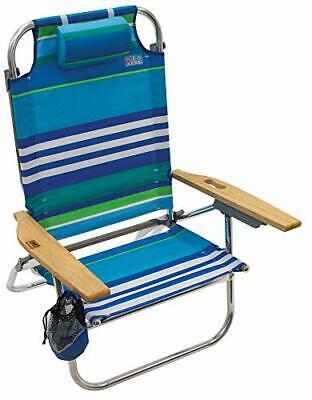 Rio Beach Hi-Boy Folding 5 Position Lay Flat Beach Chair More Than a Blue Stripe Layflat Beach Chair