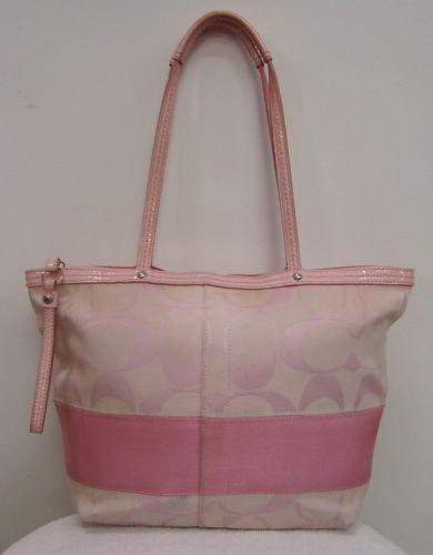 Black and pink coach purse