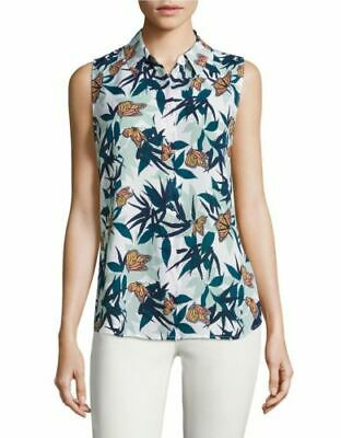 NWT $220 EQUIPMENT 'Colleen' Butterfly Print Silk Blouse, White Multi, Small