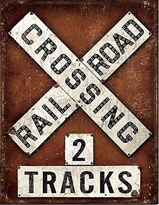 "Vintage Classic Railroad RR Crossing 2 Tracks Weathered Tin Metal Sign 13"" x 16"""