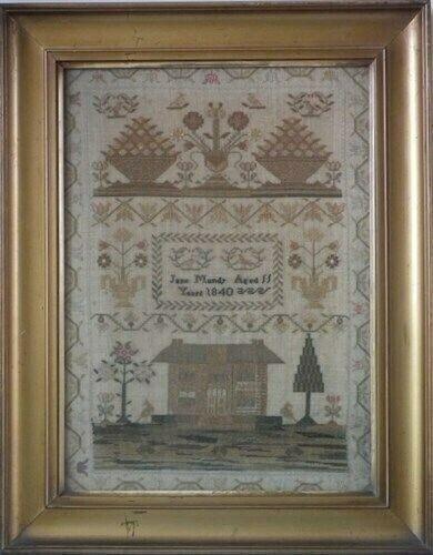 Antique Sampler, 1840 House Sampler by Jane Mundy