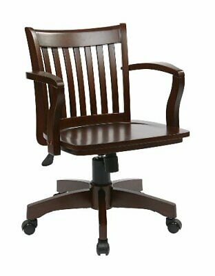 Osp Home Furnishings Deluxe Wood Bankers Desk Chair With Wood Seat Espresso