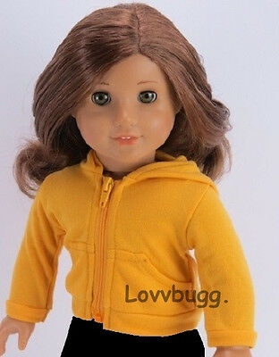 "Lovvbugg Yellow Hoodie Jacket for 18"" American Girl n Bitty Baby Doll Clothes"