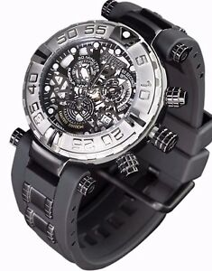New-Mens-Invicta-Subaqua-Swiss-Made-Chronograph-Skeleton-Black-Dial-Watch