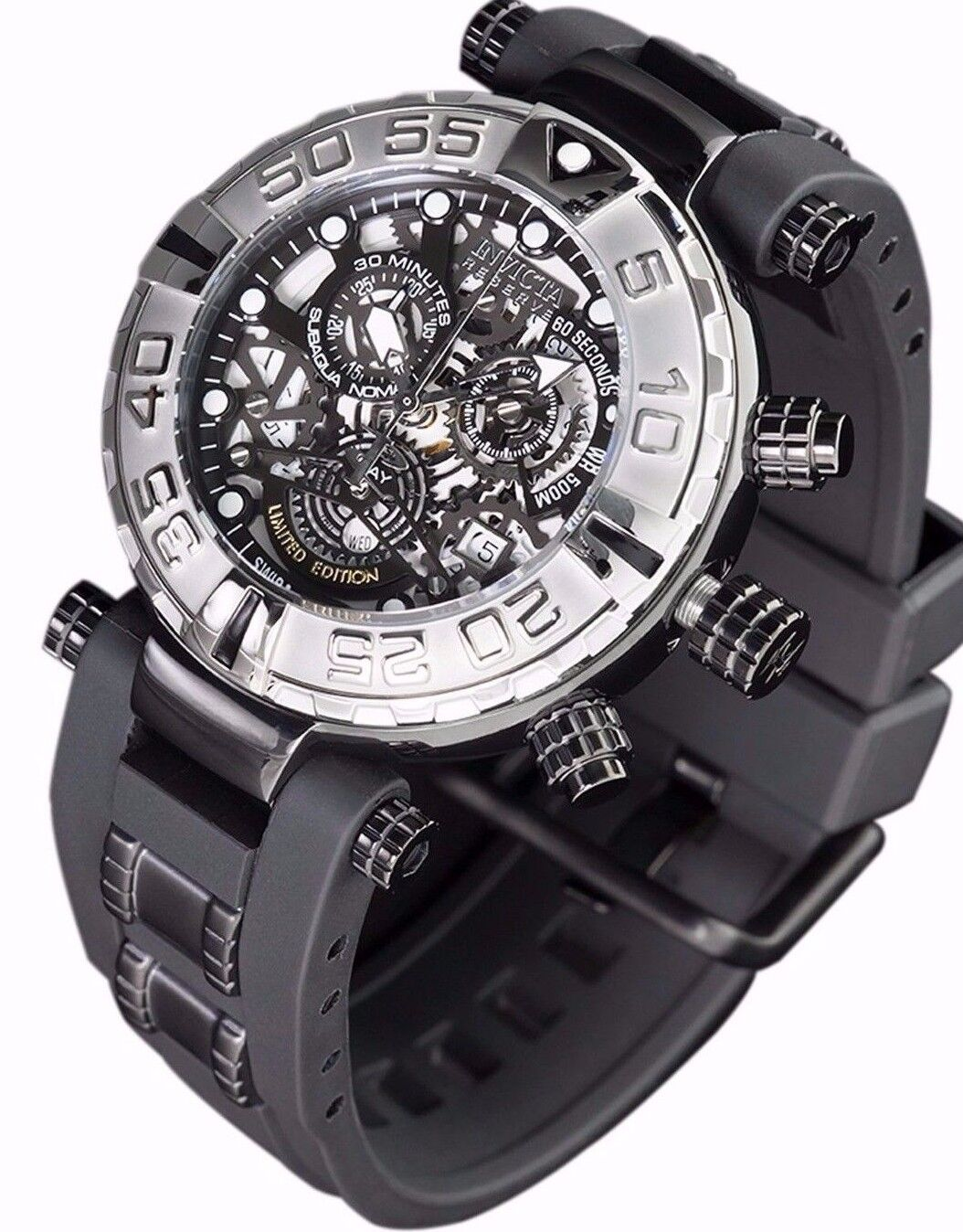 $194.99 - New Mens Invicta Subaqua Swiss Made Chronograph Skeleton Black Dial Watch