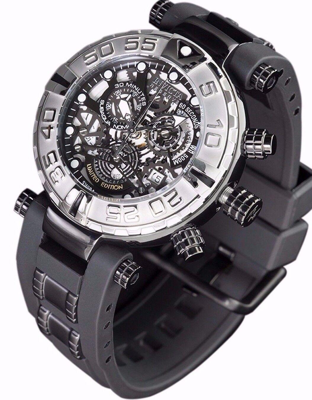 $239.99 - New Mens Invicta Subaqua Swiss Made Chronograph Skeleton Black Dial Watch
