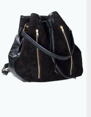 BNWT Black Woman Girls Real Suede Bagpack Travel Shoulder Bag Rucksack Handbag  ()