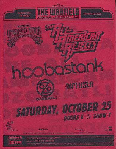 Hoobastank All-American Rejects Ozomatli Warfield San Francisco 2003 Flyer Red