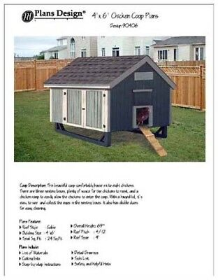 4 X 6 Backyard Chicken Poultry House Coop Project Plans 90406
