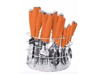 SQ Professional 24PC Stainless Steel Kitchen Cutlery Set Fork/Spoon (Orange)