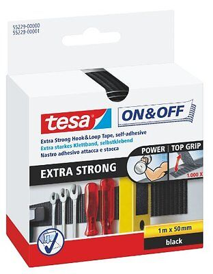tesa On & Off Klettband Extra Stark / Selbstklebender Klettverschluss zum F NEU