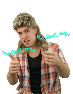 New Bogan 80s Mens Wigs Long Party Costume Mullet Wigs Blonde Black Fashion