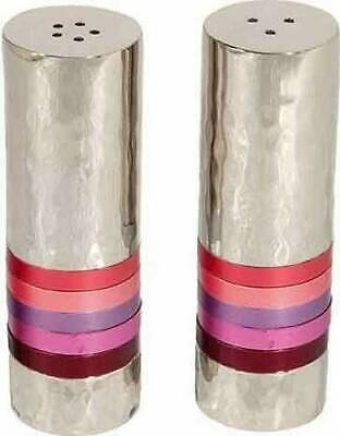 NEW Yair Emanuel Salt and Pepper Shaker Hammered Nickel - Shades of Pink and Red