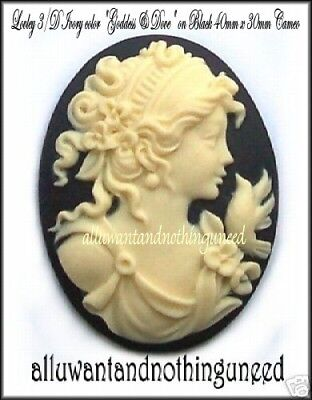 Dove Costume (6 Unset IVORY color LADY & DOVE /BLACK 40mm x 30mm Costume Jewelry Craft)