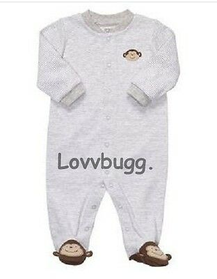 "Lovvbugg Monkey Sleeper for 15"" - 18"" Bitty Baby Doll Clothes or Preemie"