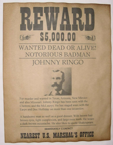 Johnny Ringo Wanted Poster, Western, Outlaw, Old West