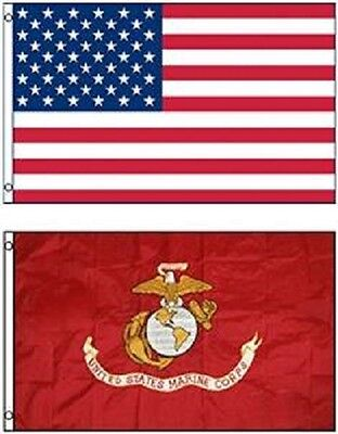 Wholesale Combo Lot 3' X 5' USA AMERICAN & USMC MARINE CORPS EGA 2 FLAGS 3X5