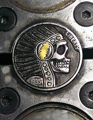 Coalburn classic Hobo Nickel chief skull Grateful Dead 24k gold inlay