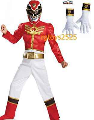 Power Rangers Size 7- 8 Medium Megaforce Red Muscle Child Costume New W Gloves](Power Ranger Megaforce Halloween)