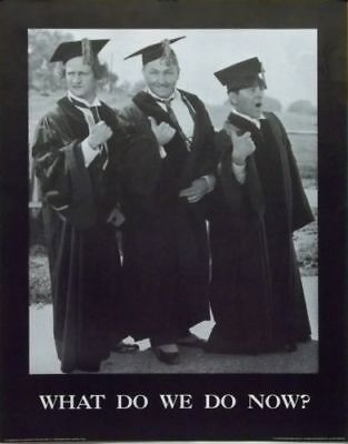 THE THREE STOOGES GRADUATION WHAT DO WE DO NOW MINT ROLLED POSTER LARRY CURLY MO - Curly Mo