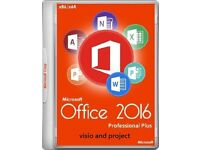 GENUINE MICROSOFT OFFICE SUITE 2016 PROFESSIONAL PLUS NEW ON DISC WITH VISIO AND PROJECT (SURPLUS)