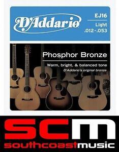 D'ADDARIO EJ16 STRING SET DADDARIO PHOSPHOR ACOUSTIC GUITAR STRINGS 12 - 53