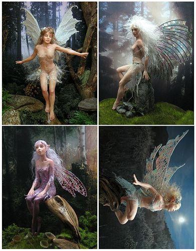 4 fairy cards set of Mollamari OOAK faerie sculptures