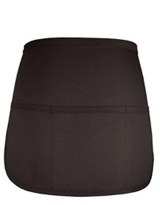 1 New Black Apron Waiter Waitress 3 Pocket Waist Aprons Rounded 14 L X 20 W