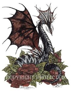 Amy-Brown-Print-BLACK-DRAGON-Red-Roses-vines-ivy-8-5x11-Retired-Fantasy-Art