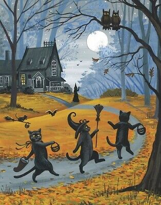 Paintings Of Halloween (8x10 PRINT OF PAINTING BLACK CAT WITCH HALLOWEEN AUTUMN FOLK ART HAUNTED)