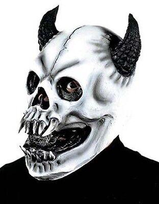 Scary White Skull Monster Mask With Horns Halloween Fancy - Scary White Dress