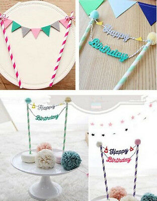 Happy Birthday Cake Cupcake Bunting Banner Flag Food Topper babyShower Party 3TL