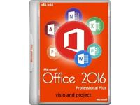 GENUINE M.S OFFICE SUITE 2016 PRO PLUS NEW ON ORIGINAL M.S DISCS WITH LIFETIME KEYS VISIO & PROJECT