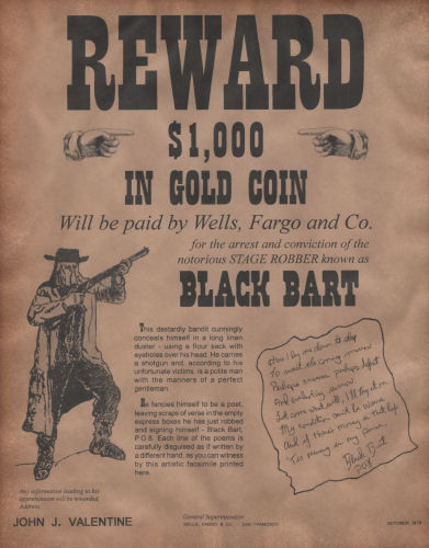 Black Bart Wanted Poster, Western, Outlaw, Old West