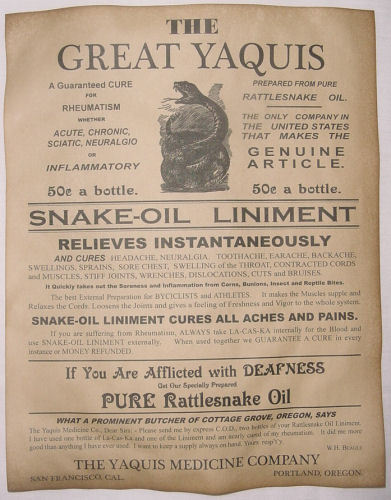 Great Yaquis Snake Oil Liniment  Ad Poster, old west, western, wanted