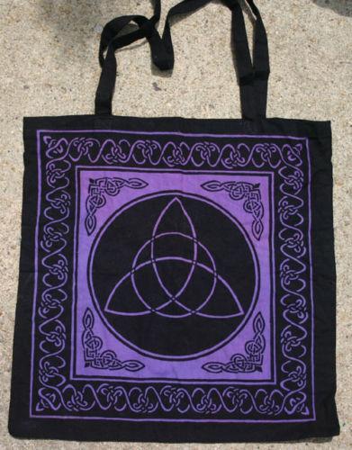 Black and Purple Celtic knots Triquetra Triqueta TOTE Wicca BAG FREE SHIPPING
