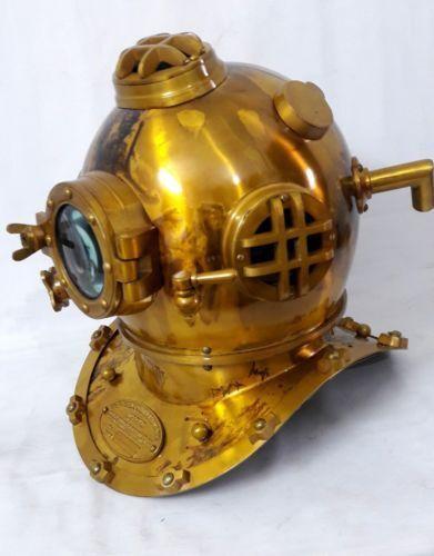"Deep Sea Desk Decor Diving Divers Helmet Solid Iron Brass U.S Navy Mark V 18"""