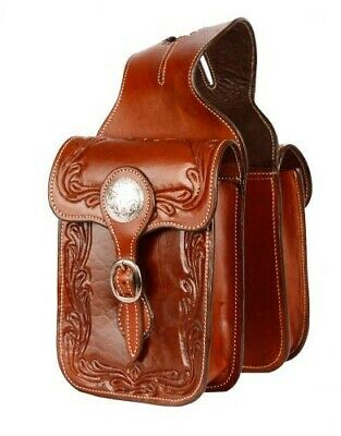 Showman MEDIUM OIL Acorn Tooled Leather Horn Bag w/ Silver Conchos! HORSE TACK!