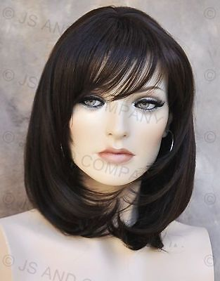 Human Hair Blend Wig Straight Face Framing Dark Brown Heat Safe W. Bangs 4 Wma