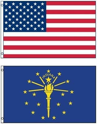 Indiana State Polyester Flag - NEW 3'x5' Indiana State Flag & AMERICAN Flag Polyester