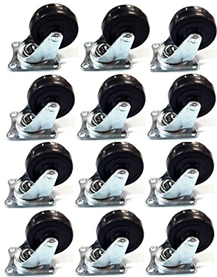 """12 Pack 2"""" Swivel Caster Wheels Rubber Base with Top Plate &"""