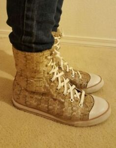 ladies high top coach gold sneakers lined coach brand
