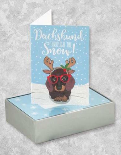 16 Count Hipster Dachshund Through the Snow! Christmas Holiday Cards NEW