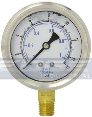 Liquid Filled Pressure Gauge 0-15 Psi 2.5 Face 14 Npt Lower Mount Wog