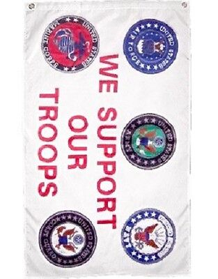 Military We Support Our Troops 5 Branches Service Banner Flag 2x3 Flag Polyester