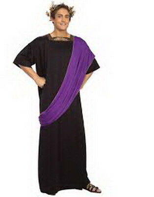 Greek God Dionysus Costume 2 Pc Long Blk Toga W/ Attached Purple Drape Wreath XL