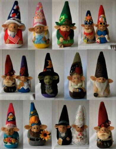 """*NEW* Cloth Folk Art Doll Pattern """"A Gnome for All Seasons"""" By Shelley Hawkey"""