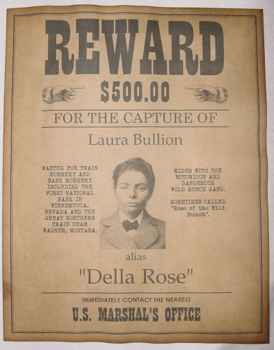 Della Rose Wanted Poster, Western, Outlaw, Old West