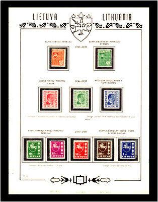 Lithuania, Sc. # 296-305, Mi. # 404-416, 432; COMPLETE SETS; MH; ON ALBUM SHEET; 1