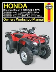 haynes service manual 2553 honda trx250te recon 250 1997. Black Bedroom Furniture Sets. Home Design Ideas